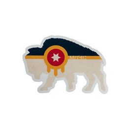 Mythic Press Bison Tulsa Flag Sticker