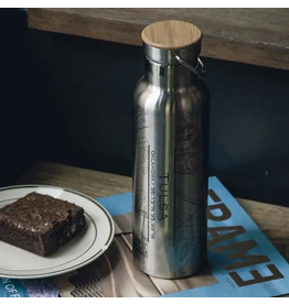 JACE.design Tulsa Map Bottle With Bamboo Top In Stainless Steel
