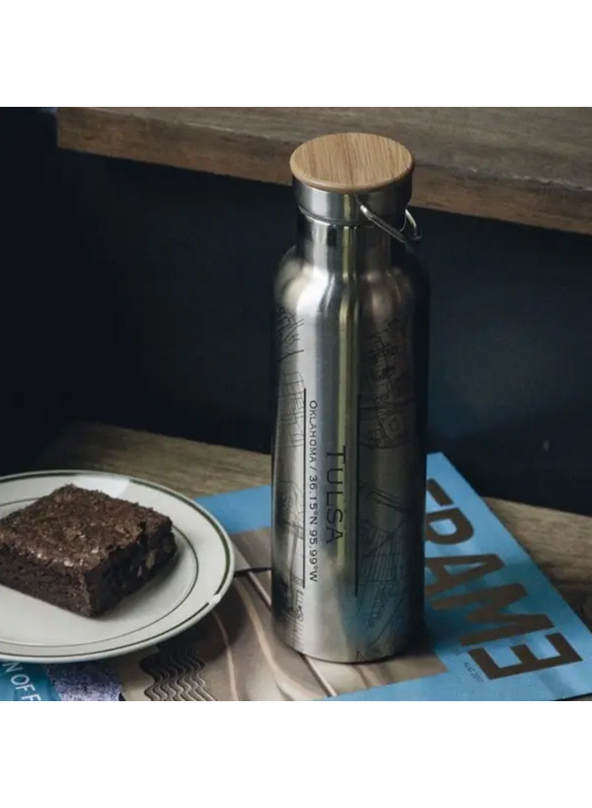 Tulsa Map Bottle With Bamboo Top In Stainless Steel
