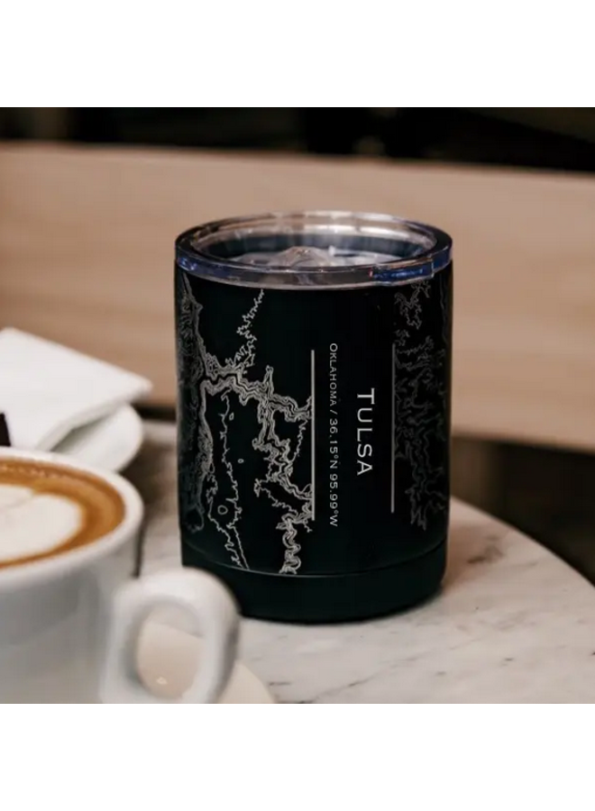 Tulsa Map Insulated Cup in Matte Black