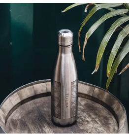 JACE.design Tulsa Map Insulated Bottle In Stainless Steel