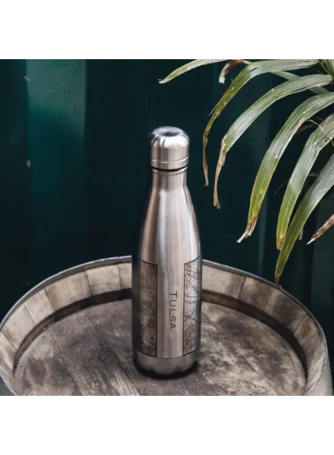 Tulsa Map Insulated Bottle In Stainless Steel