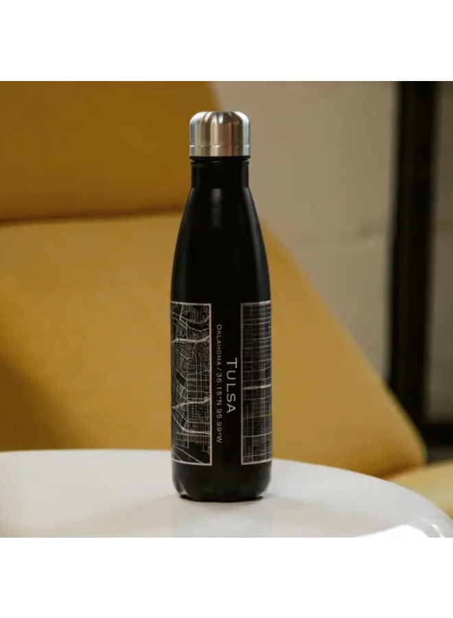 Tulsa Map Insulated Bottle In Matte Black