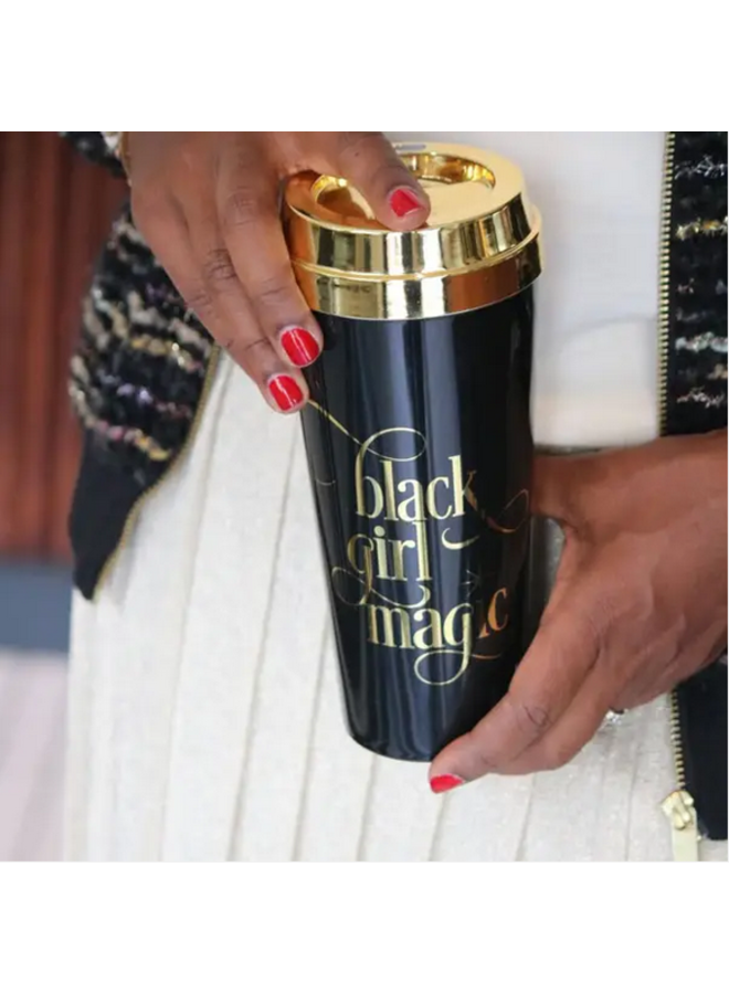 Black Girl Gold Lid Travel Mug