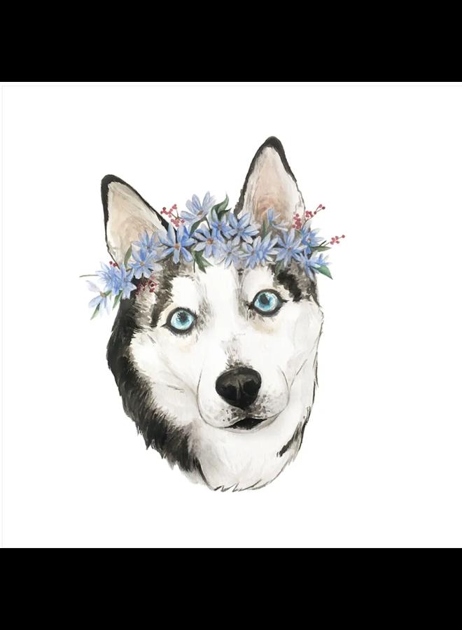 Flower Crown Husky Sticker