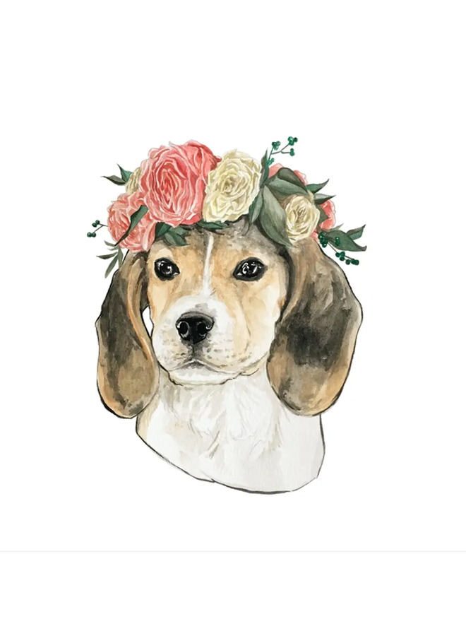Flower Crown Beagle Sticker