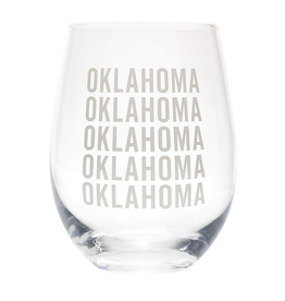 About Face State of Oklahoma Wine Glass