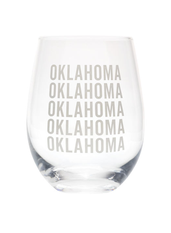 State of Oklahoma Wine Glass