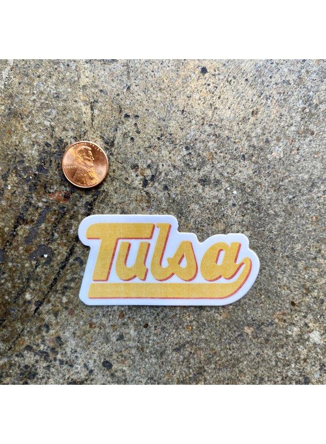 Tulsa Baseball Script Sticker