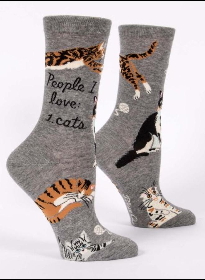 People I Love Cats Women's Crew Socks