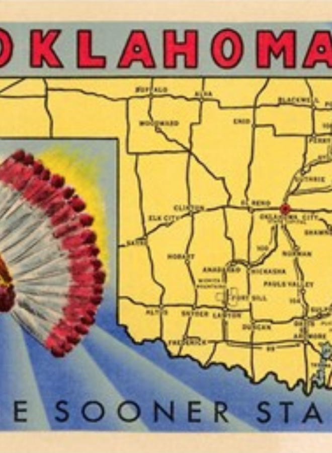 Oklahoma The Sooner State Map Postcard