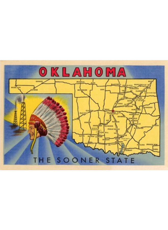 Oklahoma The Sooner State Map Postcard