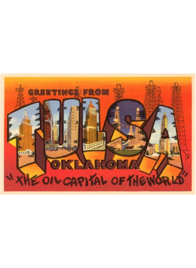 Greetings From Tulsa Postcard-Orange