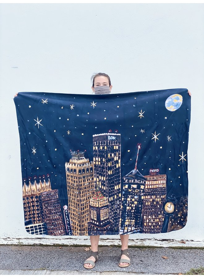 Tulsa Nights Sky Sherpa Fleece Blanket