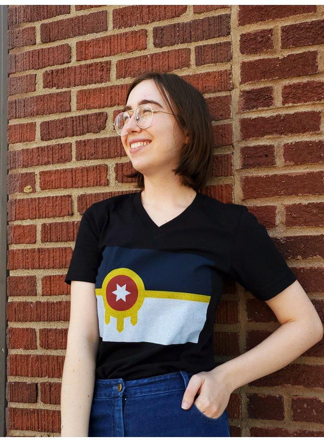 Tulsa Flag Vneck tshirt