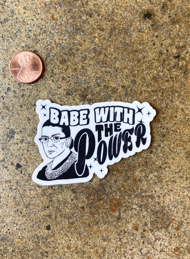 RBG Babe With Power B&W Sticker