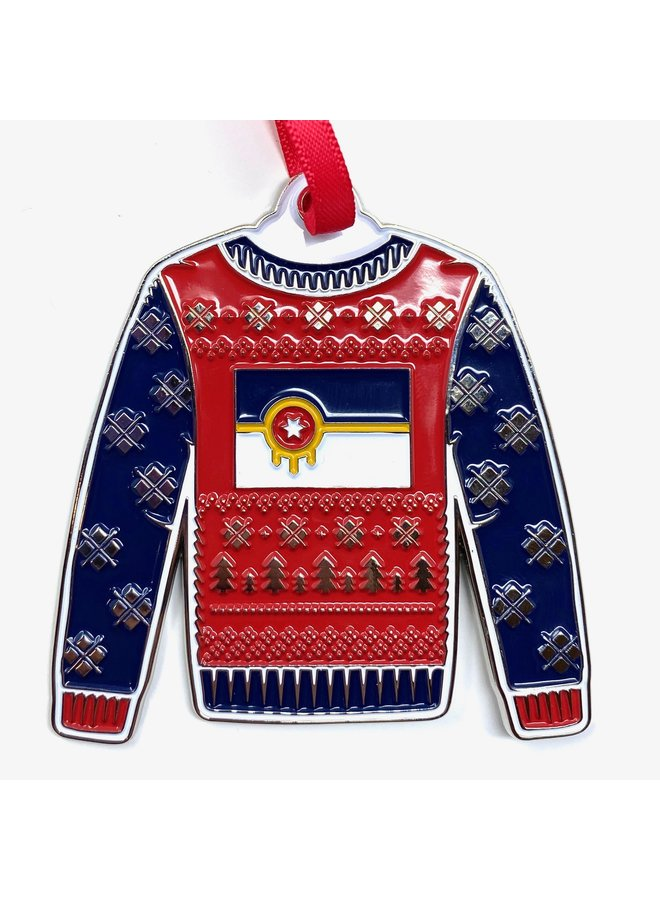Tulsa Flag Sweater Ornament