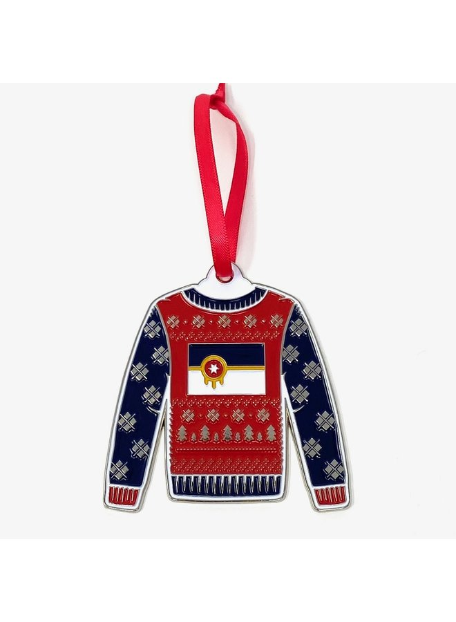 Tulsa Flag Sweater Ornament