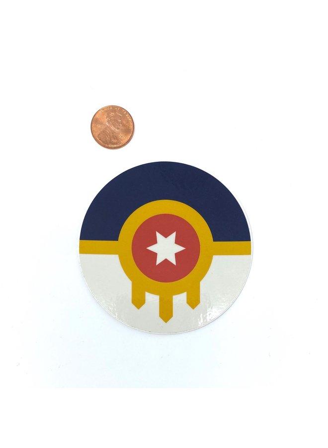 """Tulsa Flag Round Sticker 3"""""""