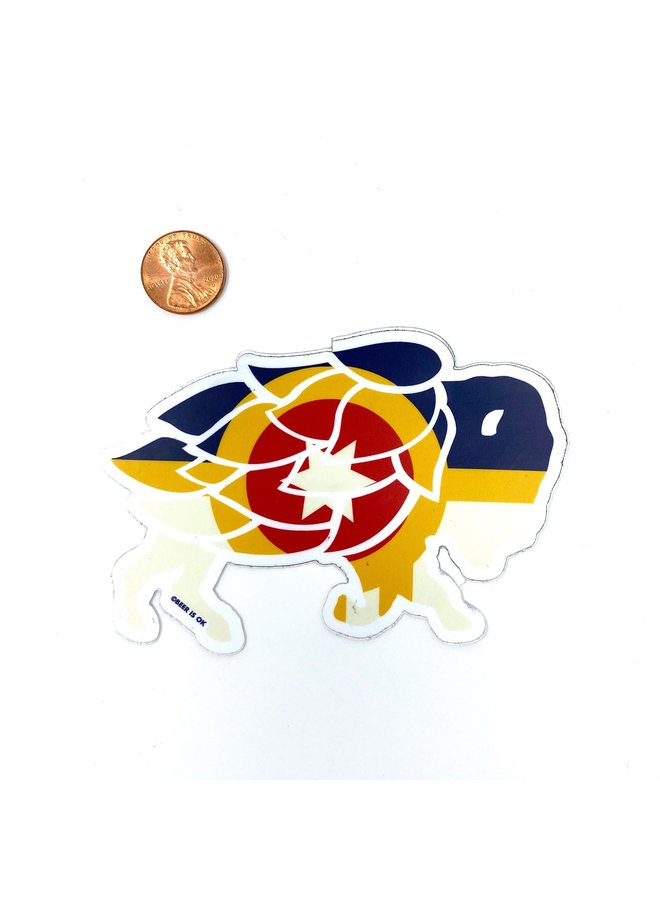 Tulsa Flag Hops Bison Sticker