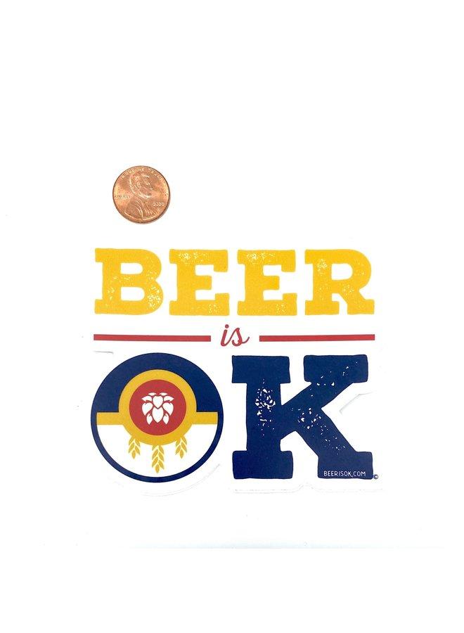 Tulsa Flag Beer Is OK Sticker