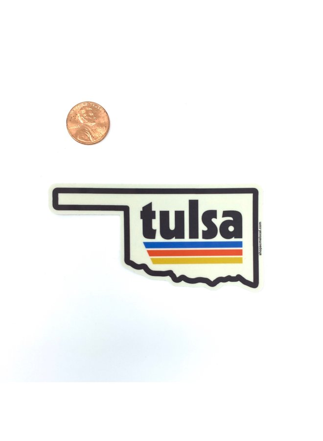 Tulsa Retro State Outline Sticker