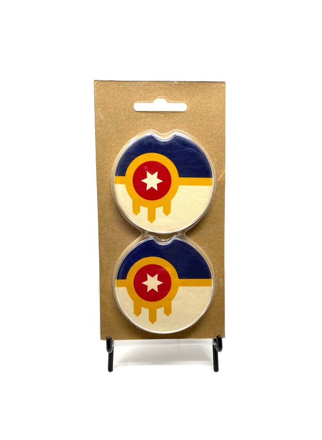 Tulsa Flag Car Coasters - 2pk