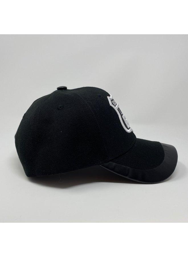 Route 66 Black Hat Leather Trim