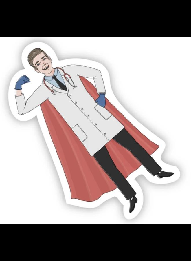 Physician Male Super Hero Sticker