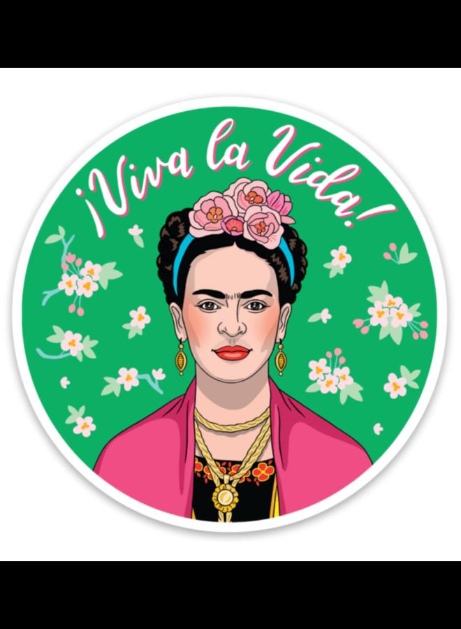 Frida With Pink Florals Sticker