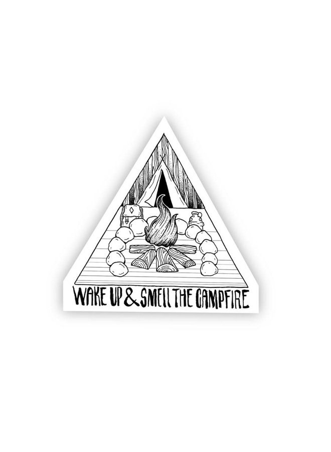 Wake Up & Smell the Campfire BW Sticker