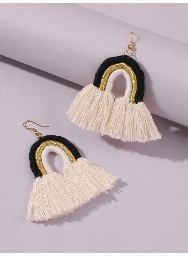 Black/Gold Rainbow Tassel Earrings