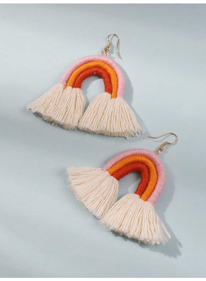 Pink/Orange Rainbow Tassel Earrings