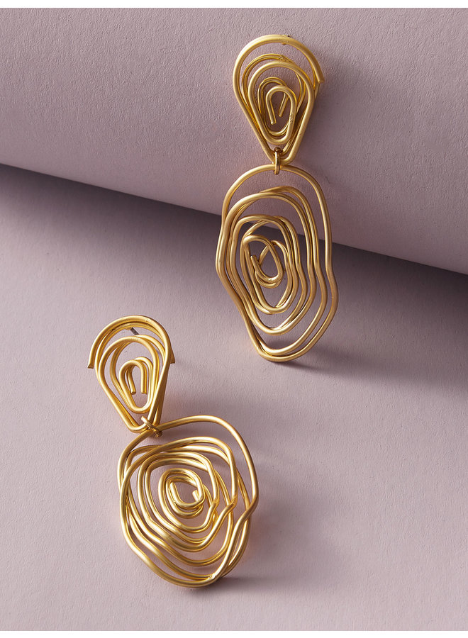 Golden  Line Twist Earrings