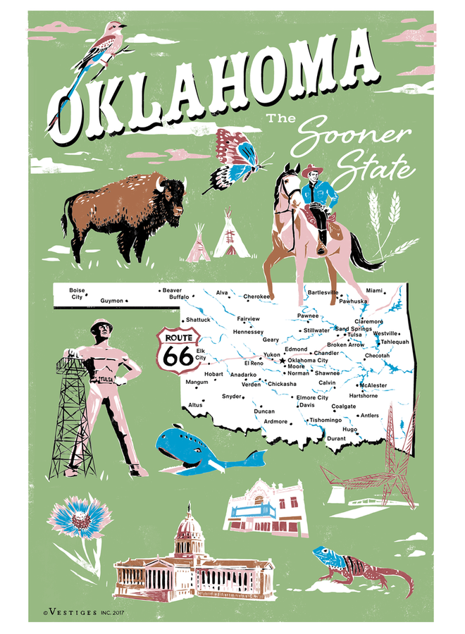 Oklahoma Icons Kitchen Towel
