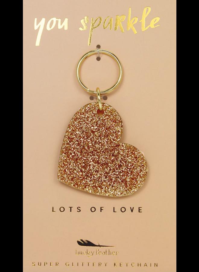 Gold Glitter Key - Heart