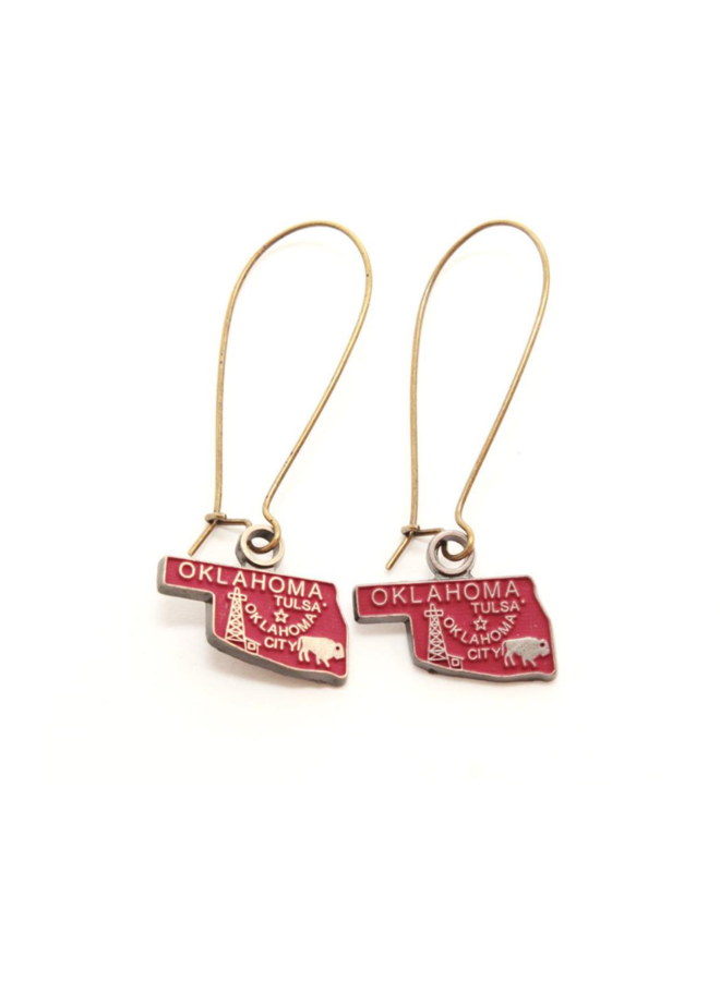 Oklahoma State Earring Crimson
