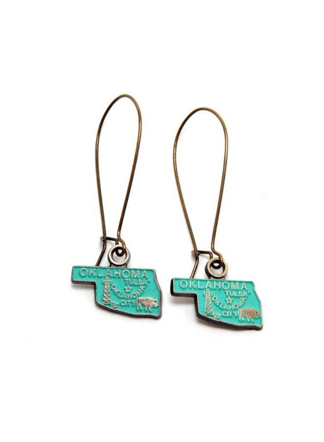 Oklahoma State Earring Turquoise