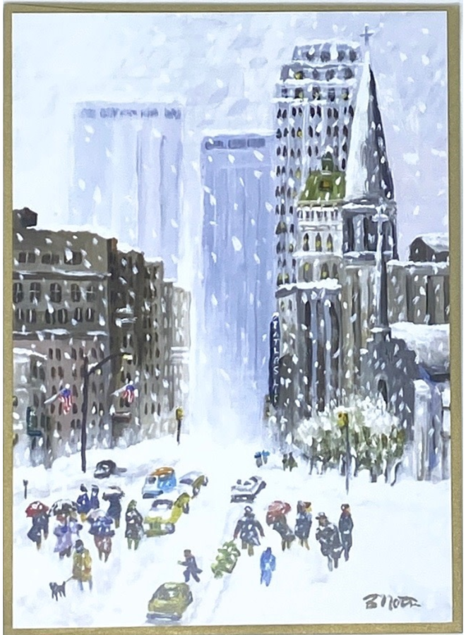 Snowy Downtown Holiday Card