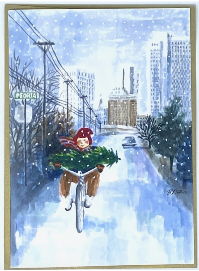 Bicycle On Peoria Holiday Card