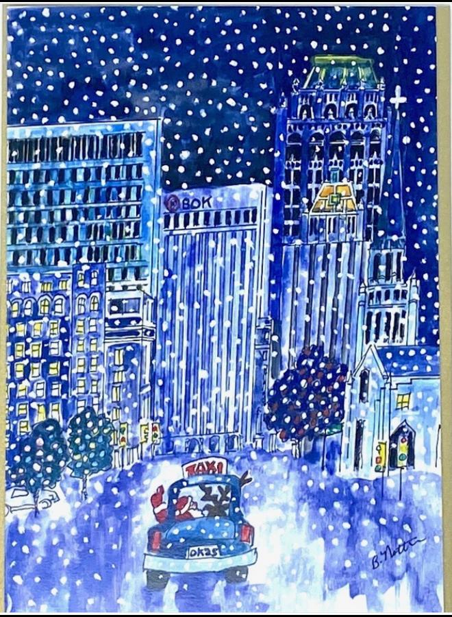 Snowy Downtown Tulsa At Night Holiday Card