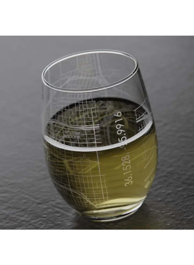 Tulsa OK Map Stemless Wine Glass