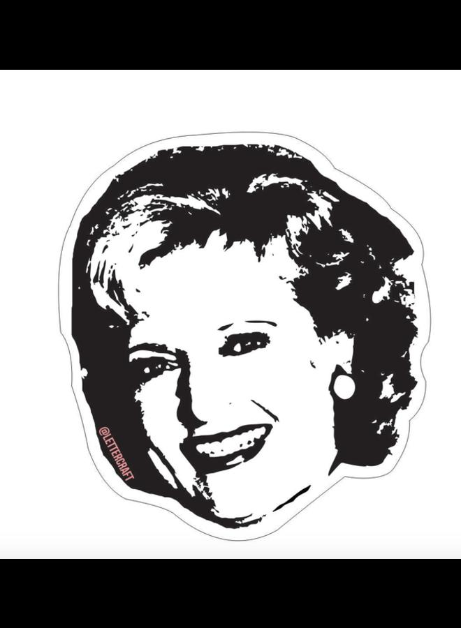 Betty White B&W Sticker