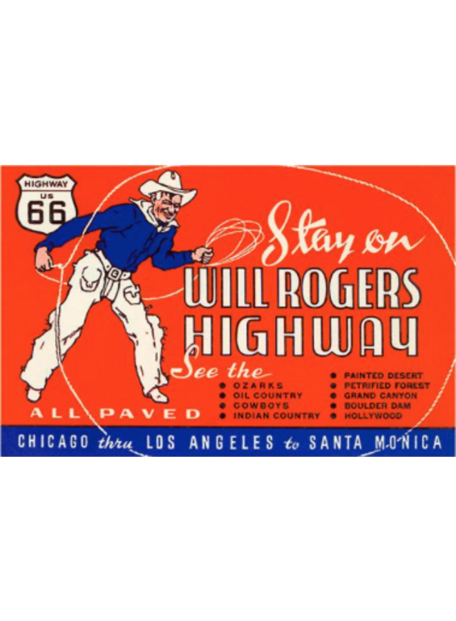 Will Rogers Highway Route 66 Postcard