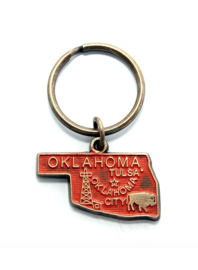Oklahoma Keychain Bright Orange