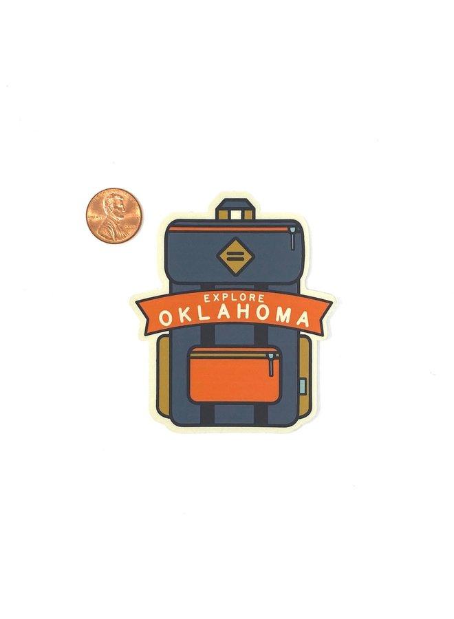 Explore Oklahoma Backpack Navy Sticker