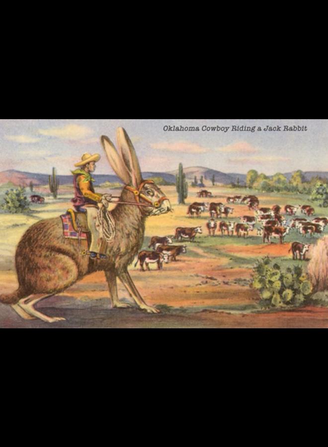 Cowboy on Giant Jack Rabbit Magnet