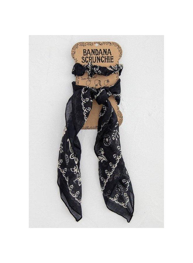 Bandana Scrunchie  Black/Cream