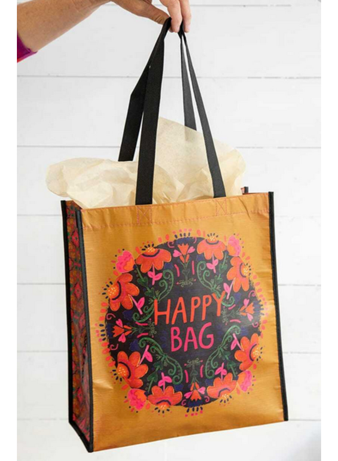 Extra Large Mustard Pink Floral Happy Bag