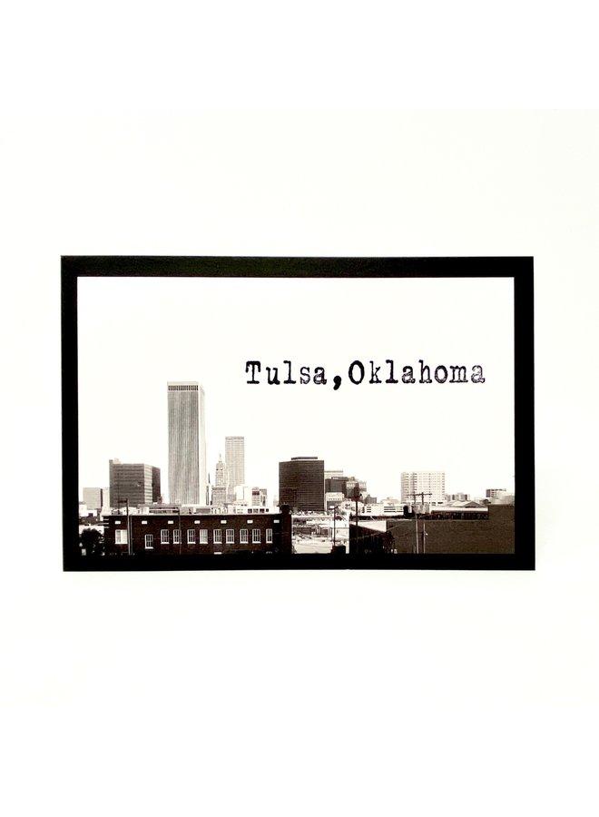 Handstamped Tulsa Skyline Postcard